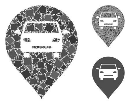 Car map marker composition of tremulant pieces in variable sizes and color hues, based on car map marker icon. Vector joggly parts are grouped into composition. 일러스트