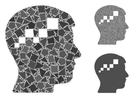 Brain blockchain mosaic of bumpy items in different sizes and color tints, based on brain blockchain icon. Vector bumpy parts are united into mosaic.
