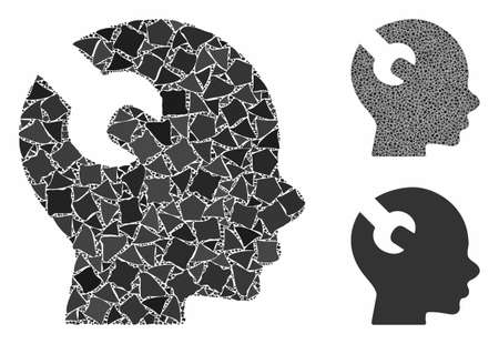 Brain wrench tool composition of rough parts in different sizes and color tones, based on brain wrench tool icon. Vector rough pieces are organized into collage.