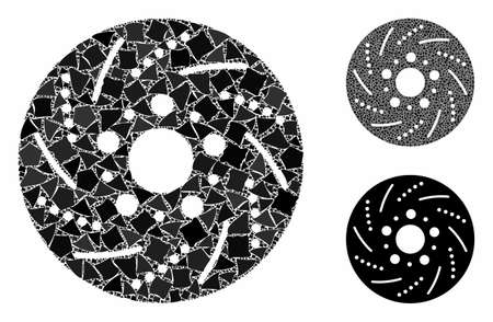 Brake disk composition of rough pieces in various sizes and color tints, based on brake disk icon. Vector inequal items are grouped into composition. Brake disk icons collage with dotted pattern.