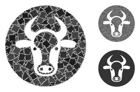 Bull head mosaic of inequal parts in various sizes and color tones, based on bull head icon. Vector uneven parts are composed into collage. Bull head icons collage with dotted pattern. Ilustracja