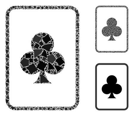 Clubs gambling card composition of trembly items in different sizes and shades, based on clubs gambling card icon. Vector inequal parts are combined into collage.