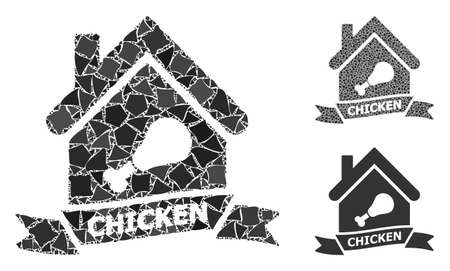Chicken cafe mosaic of raggy pieces in variable sizes and color tints, based on chicken cafe icon. Vector ragged pieces are combined into mosaic. Chicken cafe icons collage with dotted pattern.