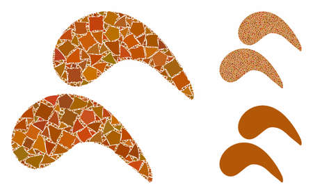 Chicken wings mosaic of rough elements in variable sizes and shades, based on chicken wings icon. Vector irregular elements are combined into mosaic. Chicken wings icons collage with dotted pattern. Ilustração