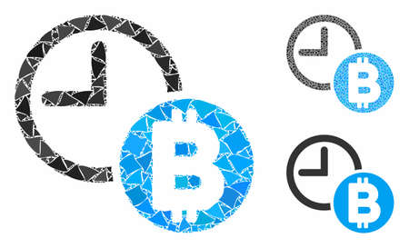 Bitcoin credit clock composition of joggly items in different sizes and color tinges, based on Bitcoin credit clock icon. Vector inequal items are composed into collage. Ilustrace