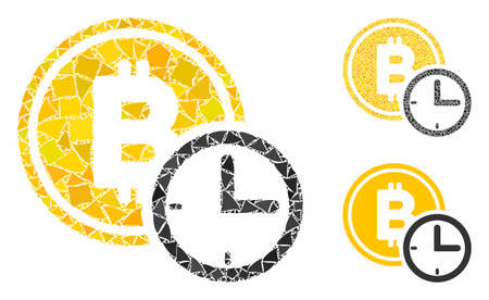 Bitcoin credit time composition of abrupt pieces in different sizes and color hues, based on Bitcoin credit time icon. Vector bumpy elements are grouped into composition. Иллюстрация
