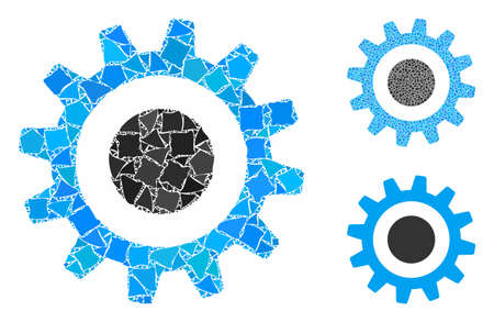 Cogwheel mosaic of trembly items in various sizes and color tints, based on cogwheel icon. Vector trembly elements are united into mosaic. Cogwheel icons collage with dotted pattern.
