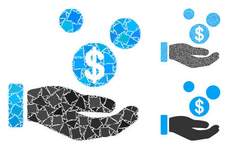 Coins payment hand composition of rough elements in variable sizes and shades, based on coins payment hand icon. Vector trembly elements are grouped into collage.