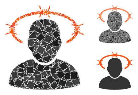 Dornenkronenmosaik aus holprigen Gegenständen in variablen Größen und Farbtönen, basierend auf dem Dornenkronensymbol. Vector robuste Elemente werden in Mosaik gruppiert. Dornenkrone Symbole Collage mit Punktmuster.