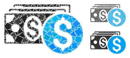 Dollar cash composition of irregular elements in different sizes and color tinges, based on dollar cash icon. Vector tremulant elements are grouped into collage.