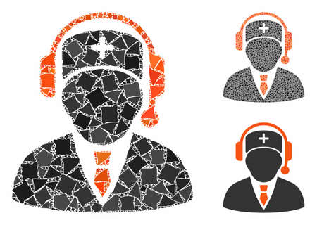 Emergency manager mosaic of tremulant parts in different sizes and color tones, based on emergency manager icon. Vector tremulant parts are grouped into mosaic.