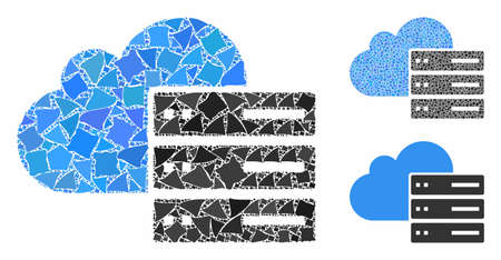 Cloud computing mosaic of rough pieces in different sizes and color hues, based on cloud computing icon. Vector unequal pieces are composed into mosaic.