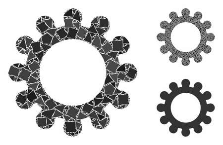 Cog composition of unequal items in different sizes and color tones, based on cog icon. Vector raggy items are composed into composition. Cog icons collage with dotted pattern.