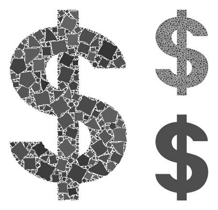 Dollar symbol composition of irregular elements in various sizes and color hues, based on dollar symbol icon. Vector inequal pieces are united into composition. Ilustracja