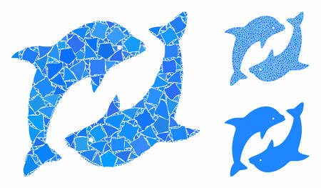 Dolphins mosaic of rough items in variable sizes and shades, based on dolphins icon. Vector bumpy items are organized into mosaic. Dolphins icons collage with dotted pattern. 일러스트