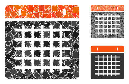 Calendar composition of raggy elements in various sizes and shades, based on calendar icon. Vector inequal elements are united into composition. Calendar icons collage with dotted pattern.