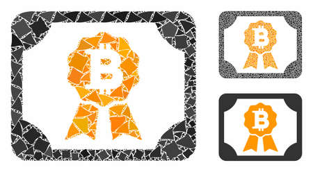Bitcoin diploma mosaic of raggy pieces in variable sizes and color tinges, based on Bitcoin diploma icon. Vector ragged pieces are combined into mosaic.