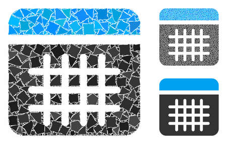 Calendar composition of uneven elements in different sizes and color hues, based on calendar icon. Vector uneven elements are combined into collage. Calendar icons collage with dotted pattern.