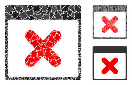 Cancel calendar page mosaic of tuberous items in various sizes and color tones, based on cancel calendar page icon. Vector uneven items are combined into collage.