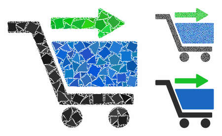 Check out cart composition of rugged elements in various sizes and color tones, based on check out cart icon. Vector tremulant elements are combined into collage.