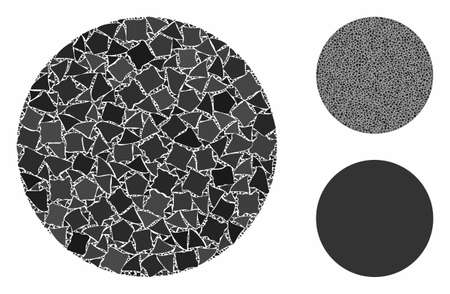 Circle mosaic of irregular pieces in various sizes and color tinges, based on circle icon. Vector irregular items are united into mosaic. Circle icons collage with dotted pattern.