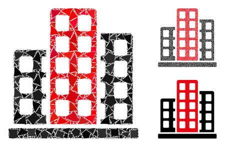 City composition of ragged pieces in various sizes and shades, based on city icon. Vector trembly dots are composed into composition. City icons collage with dotted pattern. 일러스트