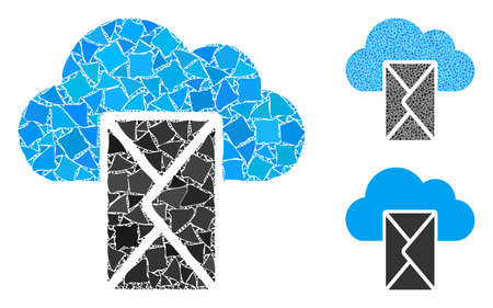 Cloud mail mosaic of inequal items in variable sizes and color hues, based on cloud mail icon. Vector raggy elements are organized into mosaic. Cloud mail icons collage with dotted pattern. 向量圖像