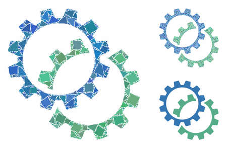 Configuration gears mosaic of abrupt pieces in variable sizes and shades, based on configuration gears icon. Vector rough pieces are united into collage.