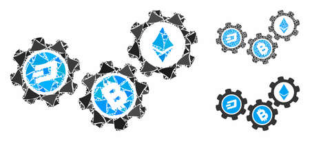 Cryptocurrency conversion gears composition of bumpy items in various sizes and color tones, based on cryptocurrency conversion gears icon. Vector tuberous items are organized into composition.