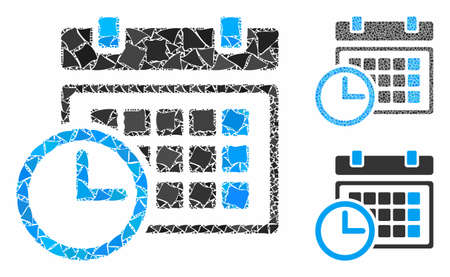 Date and time mosaic of joggly elements in variable sizes and color hues, based on date and time icon. Vector joggly elements are organized into composition.