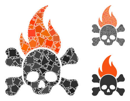 Death fire composition of ragged parts in variable sizes and color tints, based on death fire icon. Vector abrupt parts are organized into composition. Death fire icons collage with dotted pattern. Ilustrace
