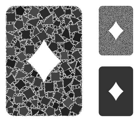 Diamonds playing card composition of joggly pieces in various sizes and color tinges, based on diamonds playing card icon. Vector humpy pieces are composed into composition.