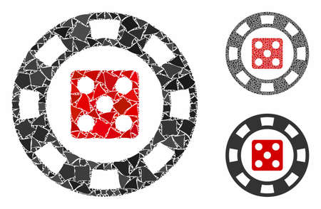 Dice casino chip mosaic of tuberous parts in various sizes and color tones, based on dice casino chip icon. Vector humpy parts are combined into collage.