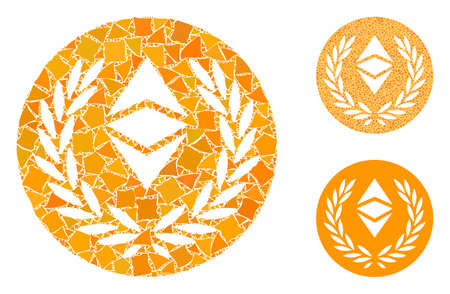 Ethereum classic laurel coin mosaic of irregular items in different sizes and color tints, based on Ethereum classic laurel coin icon. Vector trembly items are composed into collage.