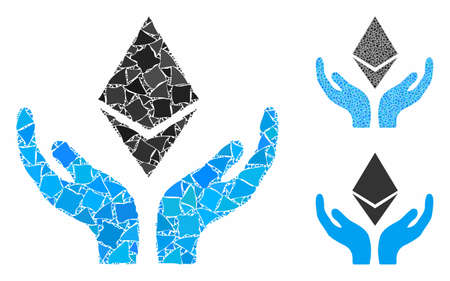 Ethereum maintenance hands mosaic of joggly pieces in variable sizes and shades, based on Ethereum maintenance hands icon. Vector inequal dots are composed into mosaic.