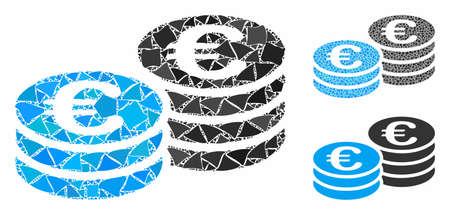 Euro coin stacks composition of irregular elements in variable sizes and color tones, based on Euro coin stacks icon. Vector inequal elements are combined into composition.