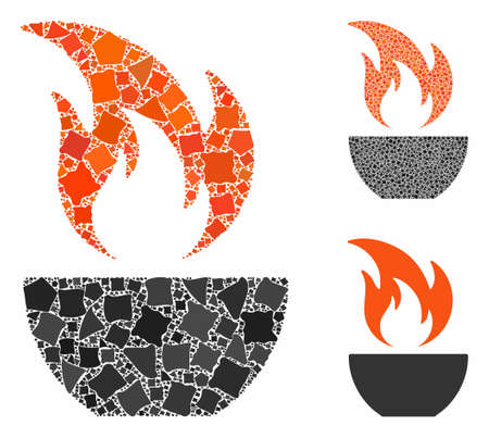 Fire bowl composition of raggy parts in different sizes and color hues, based on fire bowl icon. Vector raggy items are united into collage. Fire bowl icons collage with dotted pattern. Ilustração
