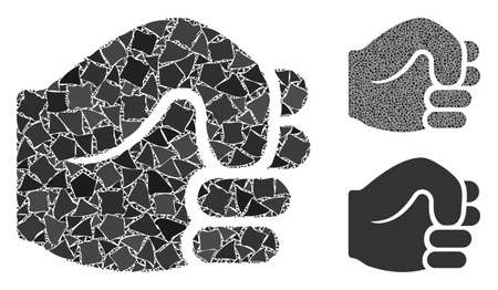 Fist composition of humpy pieces in various sizes and shades, based on fist icon. Vector tuberous pieces are organized into composition. Fist icons collage with dotted pattern.