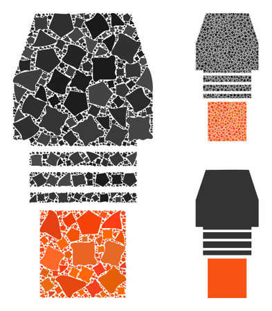 Gas burner nozzle mosaic of abrupt items in different sizes and color tinges, based on gas burner nozzle icon. Vector bumpy elements are composed into collage. Vector Illustration