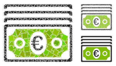 Euro banknotes composition of raggy parts in variable sizes and color tones, based on euro banknotes icon. Vector unequal dots are combined into collage.