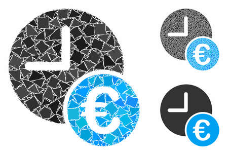 Euro recurring payments composition of inequal pieces in different sizes and color hues, based on Euro recurring payments icon. Vector ragged pieces are united into mosaic. Ilustrace
