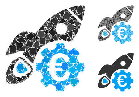 Euro rocket science mosaic of unequal pieces in different sizes and color tinges, based on Euro rocket science icon. Vector unequal dots are organized into mosaic.