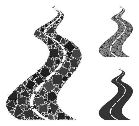 Far way road composition of bumpy parts in variable sizes and shades, based on far way road icon. Vector abrupt parts are organized into composition. Far way road icons collage with dotted pattern. Фото со стока - 133699581