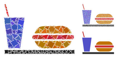Fastfood composition of trembly items in variable sizes and color tints, based on fastfood icon. Vector irregular items are combined into composition. Fastfood icons collage with dotted pattern.
