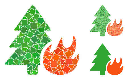 Forest fire composition of rough parts in various sizes and color tinges, based on forest fire icon. Vector joggly elements are organized into collage. Forest fire icons collage with dotted pattern.