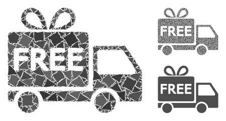 Free delivery composition of rugged parts in variable sizes and shades, based on free delivery icon. Vector ragged parts are combined into collage. Free delivery icons collage with dotted pattern. Illustration