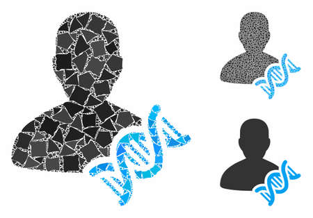 Geneticist DNA mosaic of raggy items in different sizes and color tinges, based on geneticist DNA icon. Vector raggy items are composed into collage. Geneticist DNA icons collage with dotted pattern. Illusztráció