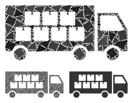 Goods transportation truck composition of joggly parts in different sizes and shades, based on goods transportation truck icon. Vector joggly items are united into composition. Illustration