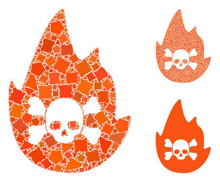 Hellfire composition of humpy elements in variable sizes and shades, based on hellfire icon. Vector humpy dots are grouped into collage. Hellfire icons collage with dotted pattern.