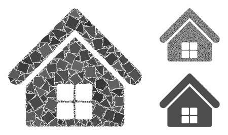 Home mosaic of humpy pieces in various sizes and shades, based on home icon. Vector uneven pieces are grouped into mosaic. Home icons collage with dotted pattern. Illusztráció